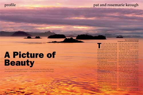 Keough photo of sunset from Five Finger Island, Alaska, from article in Outdoor Photographer Canada