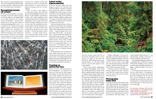 Pat and Rosemarie Keough page 2 of article in Outdoor Photographer Canada