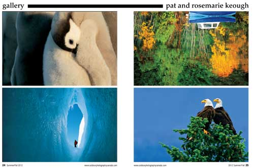 Pat and Rosemarie Keough photos of emperor penguin chicks, bald eagles in fir tree, person standing in a crevass in an iceberg, and a reflection of a blue boat and trees, all from article in Outdoor Photographer Canada about the Keoughs tomes ANTARCTICA and LABYRINTH SUBLIME: THE INSIDE PASSAGE