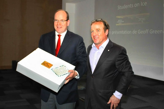 HSH Prince Albert II of Monaco is presented a copy of Pat and Rosemarie Keough's tome ANTARCTICA. Presentation by Geoff Green, Founder of Students on Ice