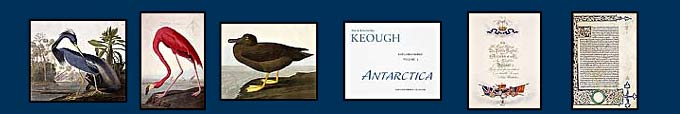 Images of Audubon's Birds Of America book and the title page of ANTARCICA and two other rare books