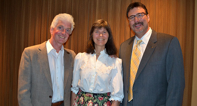 Pat and Rosemarie Keough with Seabourn President Richard Meadows. The Keoughs are part of the Antarctic expedition team, 2014.